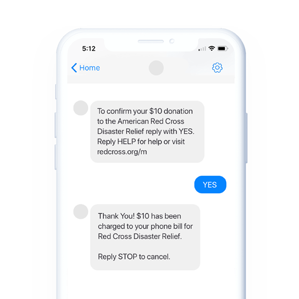 Business Text Message Donate