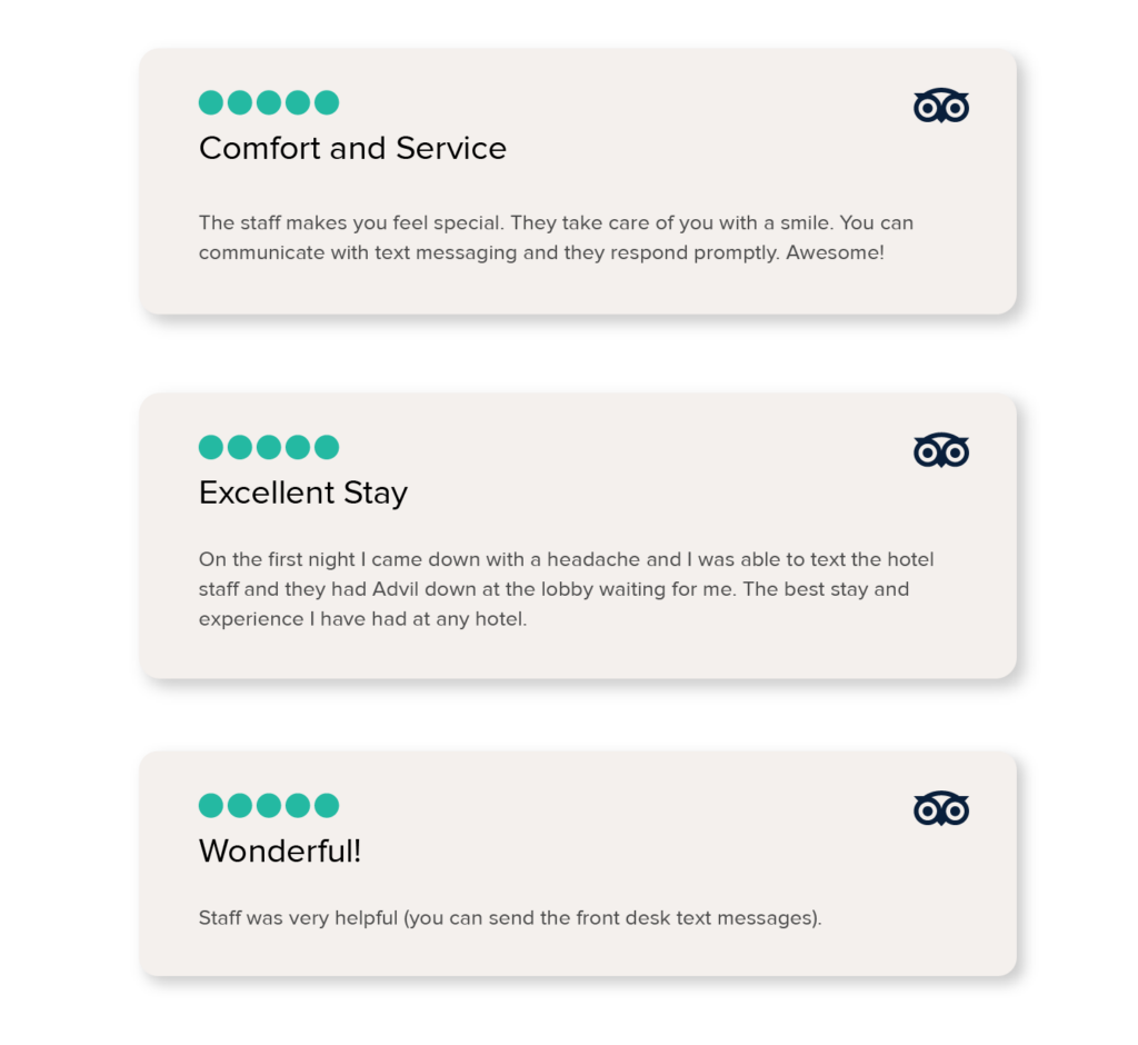 hotel text messaging great reviews