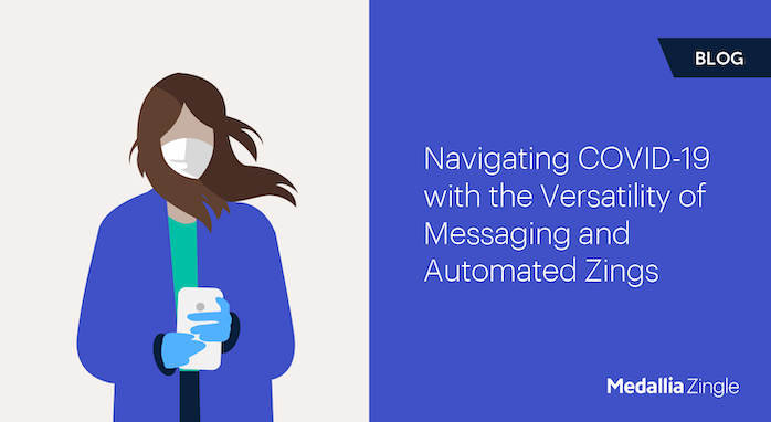 Graphic showing headline of blog, Navigating COVID-19 with the Versatility of Messaging and Automated Zings