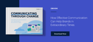 Graphic promoting and linking to eBook, Communicating Through Change
